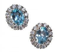 STERLING SILVER BLUE TOPAZ AND CUBIC ZIRCONIA CLUSTER EARRINGS at Ross's Auctions