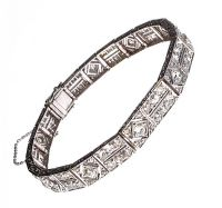 ART DECO 18CT WHITE GOLD AND DIAMOND BRACELET at Ross's Auctions