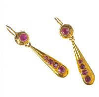 VICTORIAN 18CT GOLD AND GARNET DROP EARRINGS at Ross's Auctions