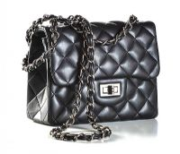 QUILTED BLACK LEATHER HANDBAG IN THE STYLE OF CHANEL at Ross's Auctions