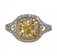 18CT WHITE GOLD AND YELLOW DIAMOND RING at Ross's Auctions