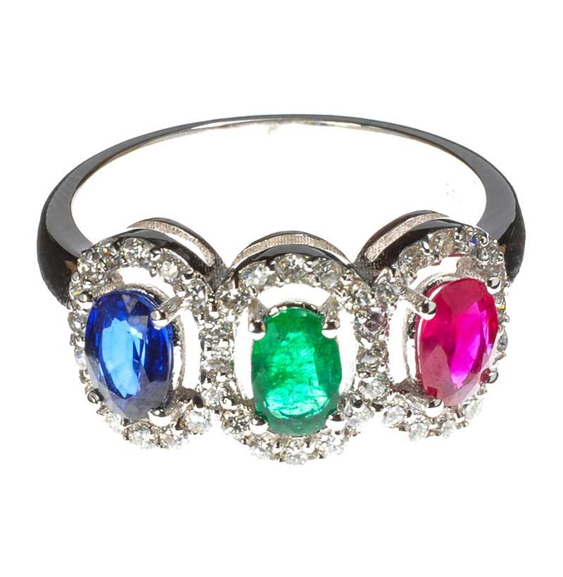 18ct White Gold Sapphire Emerald Ruby And Diamond Cluster Ring