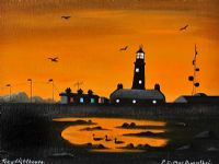 TORY ISLAND LIGHTHOUSE AT SUNSET by Patsy Dan  Rodgers at Ross's Auctions
