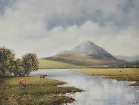 CATTLE GRAZING by Desmond Reid at Ross's Auctions