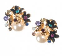 1970'S METAL, CRYSTAL AND FAUX PEARL EARRINGS at Ross's Auctions