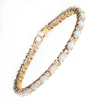 14CT GOLD OPAL AND CUBIC ZIRCONIA BRACELET at Ross's Auctions