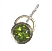 18CT GOLD GREEN TOURMALINE AND DIAMOND PENDANT by Tourmaline at Ross's Auctions