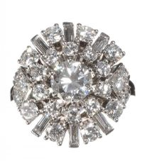18CT WHITE GOLD AND DIAMOND CLUSTER RING at Ross's Auctions