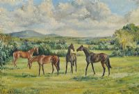 HORSES GRAZING, CO. ANTRIM by Coralie de Burgh Kinahan at Ross's Auctions