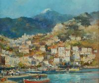 FISHING VILLAGE IN THE MEDITERRANEAN by Colin Gibson at Ross's Auctions