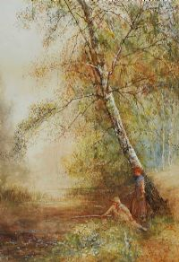 UNDER THE BIRCH TREES by Frederick Hines at Ross's Auctions