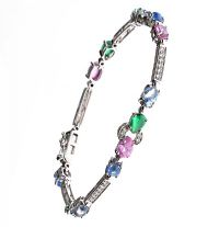 14CT WHITE GOLD AND CRYSTAL BRACELET by Cubic Zirconia at Ross's Auctions