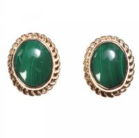 9CT GOLD AND MALACHITE STUD EARRINGS at Ross's Jewellery Auctions