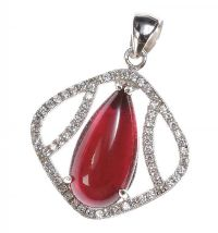 STERLING SILVER PINK TOURMALINE AND CUBIC ZIRCONIA PENDANT by Tourmaline at Ross's Auctions