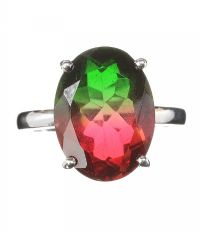 STERLING SILVER AND FAUX BI-COLOUR TOURMALINE RING by Tourmaline at Ross's Auctions