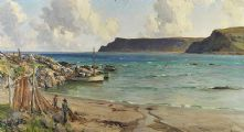 MENDING NETS NEAR CUSHENDUN, CO. ANTRIM COAST by James Humbert Craig RHA RUA at Ross's Auctions