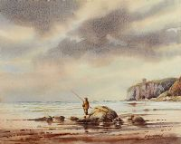 FISHING NEAR MUSSENDEN TEMPLE by Bobby Anderson at Ross's Auctions