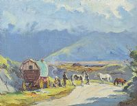 TRAVELLERS BY THE ROADSIDE by Anne Primrose  Jury HRUA at Ross's Auctions