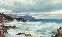 WAVES OVER THE ROCKS by Reginald Smith at Ross's Auctions