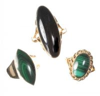 9CT GOLD RING SET WITH BLACK ONYX AND TWO SIMILAR RINGS SET WITH MALACHITE at Ross's Jewellery Auctions