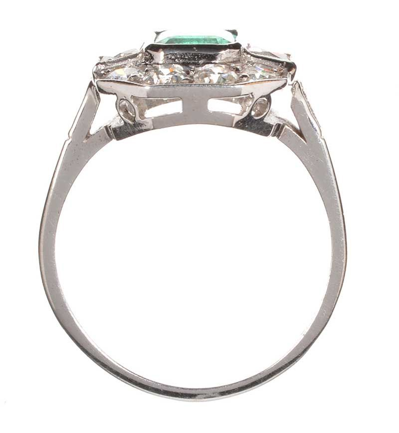 Emerald Cut Diamond Art Deco Style Ring With Step Shoulders