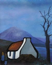 LITTLE COTTAGE UNDER MOUNT ERRIGAL by Eileen Gallagher at Ross's Auctions