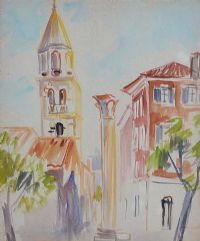 TOWN SQUARE by Father Jack P. Hanlon RHA at Ross's Auctions