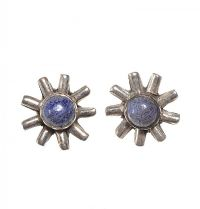 STERLING SILVER FLORAL STUD EARRINGS SET WITH LAPIS LAZULI at Ross's Jewellery Auctions