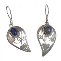 STERLING SILVER PIERCED DROP EARRINGS SET WITH LAPIS LASULI at Ross's Jewellery Auctions