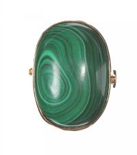 9CT GOLD DRESS RING SET WITH MALACHITE at Ross's Jewellery Auctions