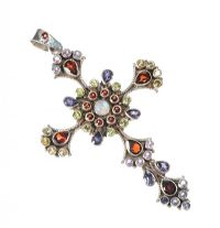 LARGE STERLING SILVER CROSS PENDANT SET WITH A VARIETY OF GEMSTONES at Ross's Jewellery Auctions