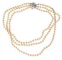 TRIPLE STRAND OF CULTURED PEARLS WITH A GEM-SET 18CT WHITE GOLD CLASP by Cubic Zirconia at Ross's Auctions
