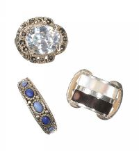 ASSORTMENT OF SILVER GEM AND CRYSTAL-SET DRESS RINGS (THREE IN NUMBER) at Ross's Jewellery Auctions