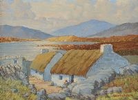 THATCHED COTTAGES, WEST OF IRELAND by R. Brotherston at Ross's Auctions