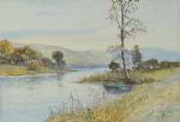 ROWING BOAT BY THE REEDS by M. Jackson at Ross's Auctions