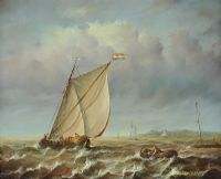 FISHING, ROUGH SEAS by Jean Laurent at Ross's Auctions