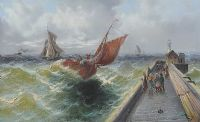 STORMY SEAS BY THE HARBOUR by H. Rogers at Ross's Auctions