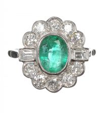 18CT WHITE GOLD EMERALD AND DIAMOND RING by Emerald at Ross's Auctions