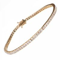 9CT GOLD TENNIS BRACELET SET WITH CUBIC ZIRCONIA by Cubic Zirconia at Ross's Auctions