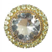 STERLING SILVER GILT DRESS RING SET WITH GREEN AMETHYST AND PERIDOT by Peridot at Ross's Auctions