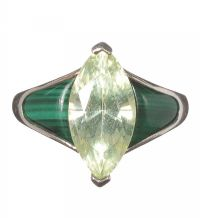 SILVER MALACHITE AND CRYSTAL RING at Ross's Jewellery Auctions
