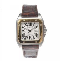 CARTIER 'SANTOS 100' 18CT GOLD AND STAINLESS STEEL AUTOMATIC GENT'S WRIST WATCH by Wrist Watches at Ross's Auctions