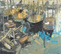 BOATS IN A HARBOUR by Colin Davidson RUA at Ross's Auctions
