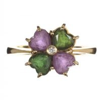 18CT GOLD RING SET WITH DIAMOND, TOURMALINE AND AMETHYST at Ross's Jewellery Auctions