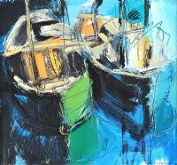 FISHING BOATS by Colin Davidson RUA at Ross's Auctions