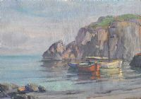 FISHING BOATS, ANTRIM COAST by Charles McAuley at Ross's Auctions