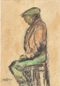 THE SHIPYARD WORKER ON THE DAY THE TITANIC SANK, 15TH APRIL 1912 by William Conor RHA RUA at Ross's Auctions