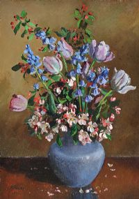 FLOWERS IN A BLUE VASE by Anne Primrose  Jury HRUA at Ross's Auctions