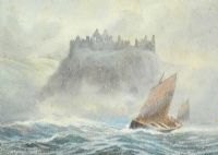 SAILING OFF DUNLUCE CASTLE by Joseph William  Carey RUA at Ross's Auctions