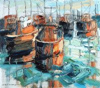 BOATS AT PORTAVOGIE by Colin Davidson RUA at Ross's Auctions